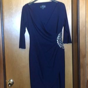 Elegant deep blue w/rhinestones dress